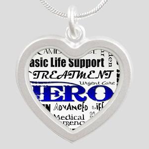 EMT Hero Subway Art Silver Heart Necklace