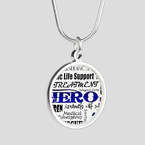EMT Hero Subway Art Silver Round Necklace