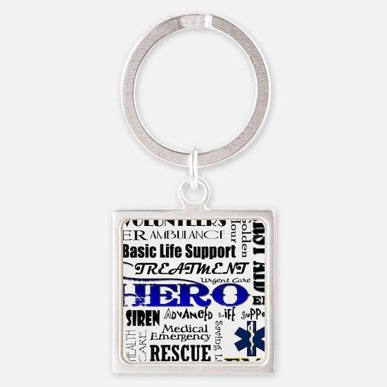 EMT Hero Subway Art Square Keychain