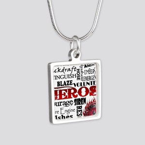 Firefighter Hero Subway  Silver Square Necklace