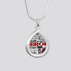 Firefighter Hero Subway  Silver Teardrop Necklace