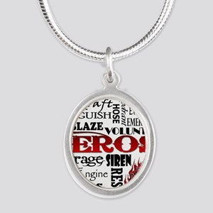 Firefighter Hero Subway  Silver Oval Necklace