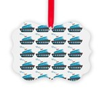 Cruise Ship Tug Boat Blue Red Ornament