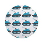 Cruise Ship Tug Boat Blue Red Ornament (Round)