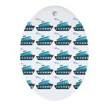 Cruise Ship Tug Boat Blue Red Ornament (Oval)