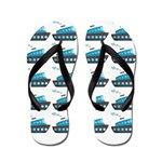 Cruise Ship Tug Boat Blue Red Flip Flops