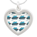Cruise Ship Tug Boat Blue Red Necklaces