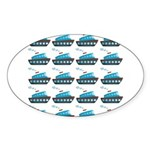 Cruise Ship Tug Boat Blue Red Sticker