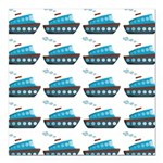 Cruise Ship Tug Boat Blue Red Square Car Magnet 3