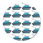 Cruise Ship Tug Boat Blue Red Round Car Magnet