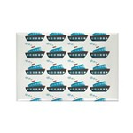 Cruise Ship Tug Boat Blue Red Magnets