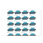 Cruise Ship Tug Boat Blue Red Postcards (Package o