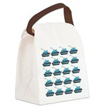 Cruise Ship Tug Boat Blue Red Canvas Lunch Bag