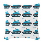 Cruise Ship Tug Boat Blue Red Woven Throw Pillow