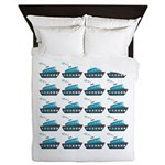Cruise Ship Tug Boat Blue Red Queen Duvet