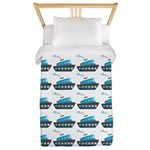Cruise Ship Tug Boat Blue Red Twin Duvet