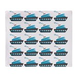 Cruise Ship Tug Boat Blue Red Throw Blanket