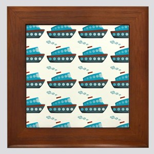 Cruise Ship Tug Boat Blue Red Framed Tile