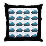 Cruise Ship Tug Boat Blue Red Throw Pillow