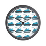 Cruise Ship Tug Boat Blue Red Wall Clock