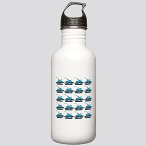 Cruise Ship Tug Boat Blue Red Water Bottle