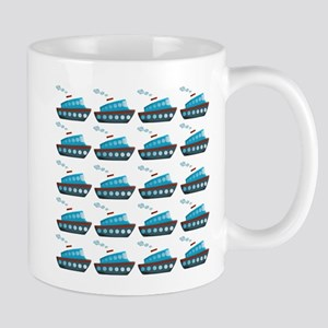 Cruise Ship Tug Boat Blue Red Mugs
