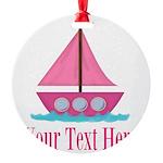 Pink Sailboat Personalizable Ornament