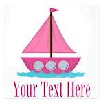 Pink Sailboat Personalizable Square Car Magnet 3