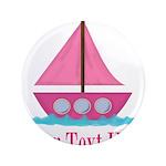Pink Sailboat Personalizable 3.5
