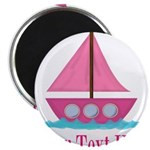 Pink Sailboat Personalizable Magnets