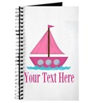 Pink Sailboat Personalizable Journal