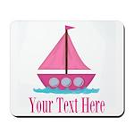 Pink Sailboat Personalizable Mousepad