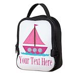 Pink Sailboat Personalizable Neoprene Lunch Bag