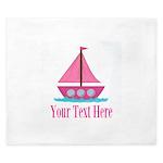 Pink Sailboat Personalizable King Duvet