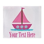 Pink Sailboat Personalizable Throw Blanket
