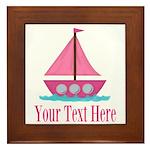 Pink Sailboat Personalizable Framed Tile
