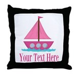 Pink Sailboat Personalizable Throw Pillow
