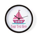 Pink Sailboat Personalizable Wall Clock