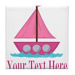 Pink Sailboat Personalizable Tile Coaster