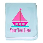 Pink Sailboat Personalizable baby blanket