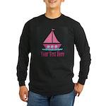 Pink Sailboat Personalizable Long Sleeve T-Shirt