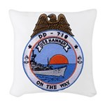 USS HAMNER Woven Throw Pillow
