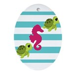 Sea Turtles Seahorse Ornament (Oval)