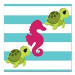 Sea Turtles Seahorse Square Car Magnet 3
