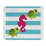 Sea Turtles Seahorse Throw Blanket