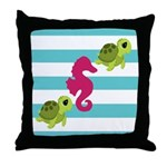 Sea Turtles Seahorse Throw Pillow