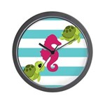 Sea Turtles Seahorse Wall Clock