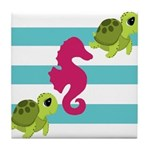 Sea Turtles Seahorse Tile Coaster