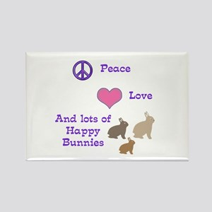 Peace, Love & Bunnies Rectangle Magnet
