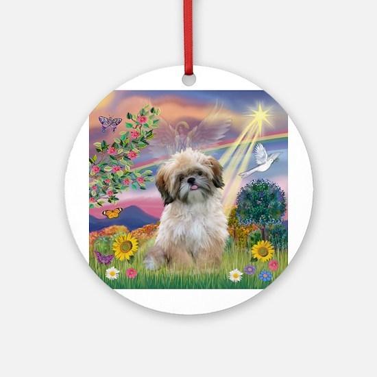 Cloud Angel & Shih Tzu  Ornament (Round)
